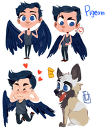 Pigeon Cute 4 Chibi Set Comm by temporaryWizard