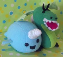 Stabby McGillicudy and Trogdor Plush by SowCrazy