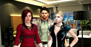 Claire, Chris and Jill by wolodin
