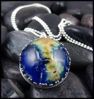 Glass cabochon and Sterling silver pendant by andromeda