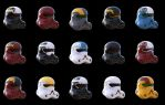 Storm trooper helmet color variants by SchneeKatze09