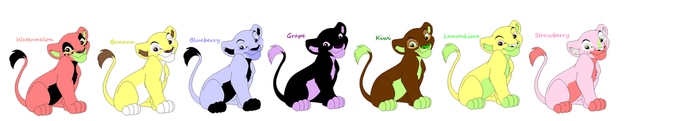 Fruit Themed Lion Cub Adoptables [2 POINTS/1 LEFT] by makeradopts