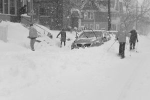 2015 January Blizzard, Street Skiers Passing By by Miss-Tbones