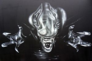 Airbrush Alien on big wood panel - Acrylic by Airgone