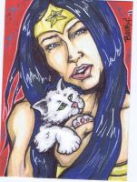 Wonder Woman with Kitten by BankyOne