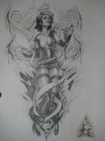 drawing for tattoo design for my pal by Jonny5nLala