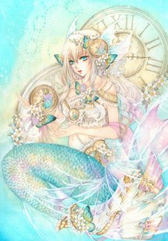 Mermaid Clock by laverinne