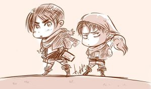 Chibi Eren and Chibi Levi by AkariMarco