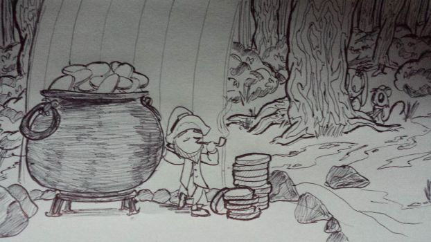 A leprechaun in woods by TOONOLOGY