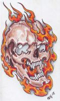 Skull In Flames 2 by vikingtattoo