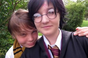 Harry Potter Cosplay 34 - me and my brother :) by KatintheAttic