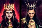 Morgana Pendragon  and Loki Lafeyson by manulys
