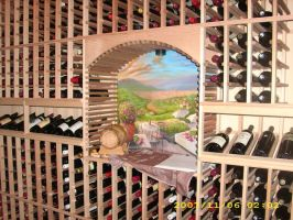 Tuscany mural in wine cellar by MuralsbyLeBold
