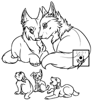 Wolf Family Line Art Ms paint friendly F2U by Z-A-D-Y