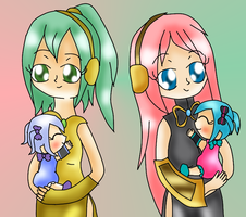 Sonika and Luka with baby Miku and Miriam by Bokeol