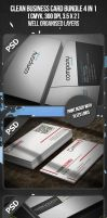Clean Business Card Bundle 4 in 1 by VadimSoloviev