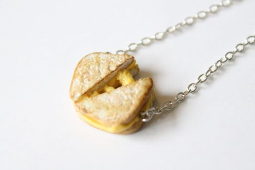 Polymer Clay Grilled Cheese Toastie Necklace by ChroniclesOfKate