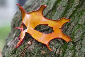 Fall Oak Leaf Leather Mask by OsborneArts