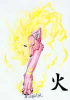 .::Half Okami_Fire::. by WhiteSpiritWolf
