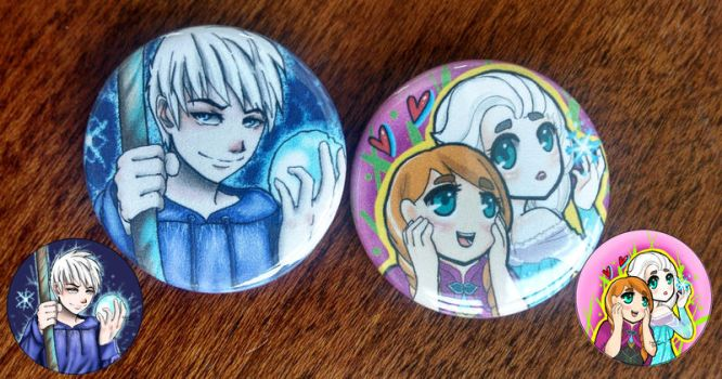 Jack Frost, Elsa and Anna Fanart Buttons by OverVenture