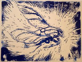 Fly - Lino Print by InTheLostWoods