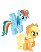 Rainbow Dash and Applejack by KestrelElk