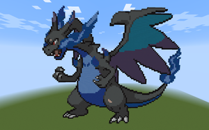 Minecraft Pixel - Mega Charizard X by Gem-A-Knight