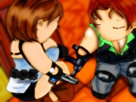 RE3 Jill n Carlos by FallenCryingDevil