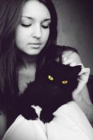 Ann and her cat Dasha by b0nPolly