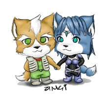 Chibi - Fox and Krystal_color by aMci12