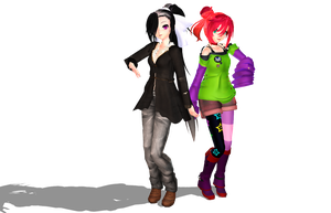 MMD Newcomers Human BlckPawnchessmon and Floramon by Clonesaiga