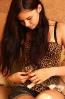 Beautiful girl with a small cat by MilanVopalensky