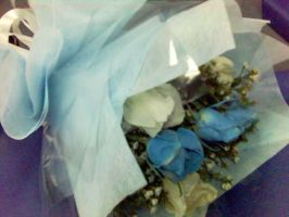 Bouquet of blue and white rose by ayikawaii