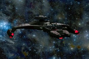 Klingon Vorcha class cruiser in deep space by Robby-Robert