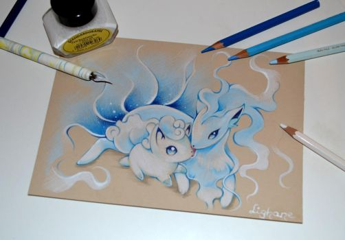 Alolan Vulpix and Ninetales by Lighane