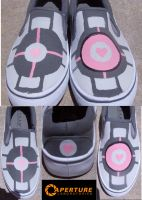 Custom Companion Cube Shoes by maybirdfan