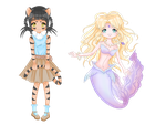 Tiger and mermaid adopts - Open by MagicMoonBird