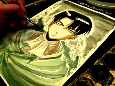 Levi Rivaille Watercolor Portrait by Mistiqarts