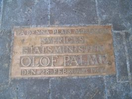 Memorial plaque of Olof Plame by EgonEagle