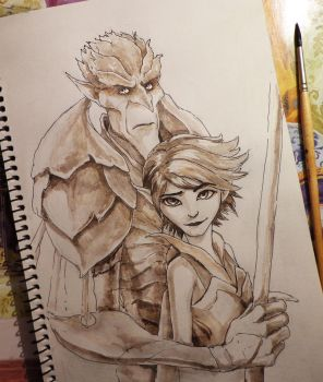 Bog King and Marianne sketch 23.06. by Ka-ren