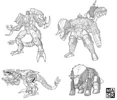 Beast Wars linearts by rattrap587