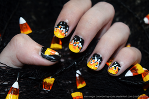 Candy Corn Nails 2015 by wondering-souls