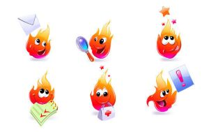 Fire cartoon icon set by hugoo13