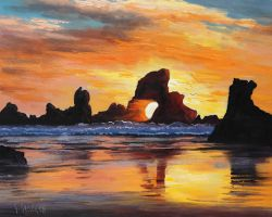 Oregon Sunset Beach by artsaus
