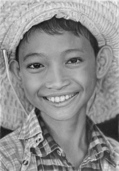 Pencil portrait of a girl from Myanmar (Burma) by LateStarter63