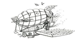 Steampunk Airship - Ink by thefuzzyslug