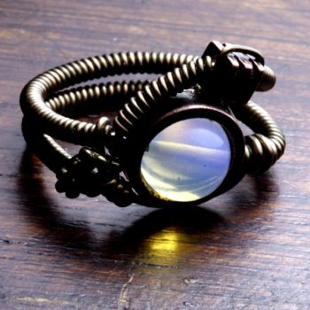 Steampunk ring with Opalite by CatherinetteRings