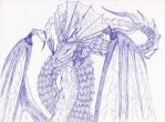 Dragon Elder Ballpoint Pen Sketch by GusRadner