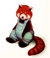 It's a red panda in overalls. by trowicia