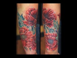 Poppies Tattoo done by Sean Ambrose at Arrows and by seanspoison